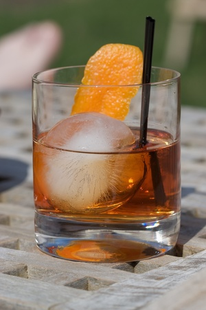 Negroni cocktail with Ice Sphere