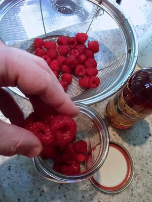 Making Raspberry Shrub